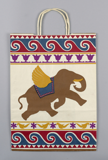 Spring Country Promotion (India). White bag with charging brown elephant in profile.  Border of red and blue swirls.  Mustard and purple abstract designs.