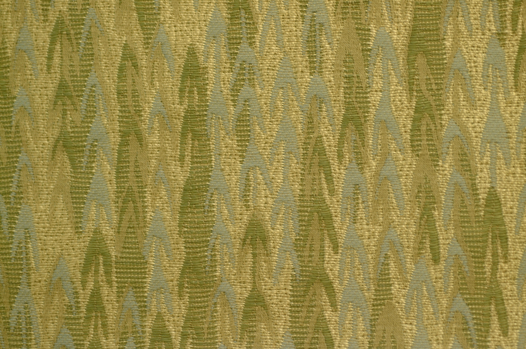 Abstraction of the leafy branches of a weeping willow tree, in pale shades of blue, green, yellow and tan. Inspired by a 19th century embroidered mourning picture, which incorporates the weeping willow as a symbol of grief.