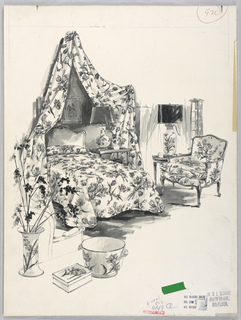 Floral-pattern canopy bed and matching chair