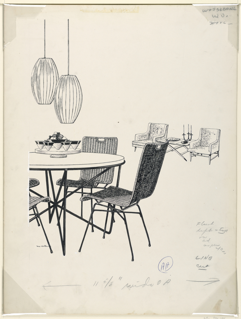 Table and woven chairs