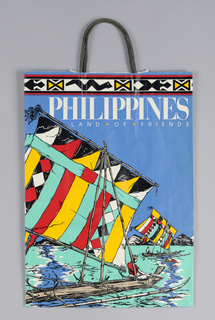 "Country Promotion. ""The Philippines: Land of Friends"".  Boating scene on blue background."