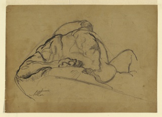 """Study for sculpture group. Recto: """"Day"""" seen from the back, with figure placed slightly above eye level. Drawn from a plaster cast. Verso: Study of knee and feet of the same figure."""