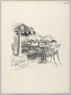 Outdoor table and wrought-iron-like chairs