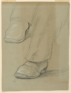 Study of lower left leg and foot, and right foot, in boots. Verso: Torso of man seated in chair facing slightly left. Sketch of a portrait.