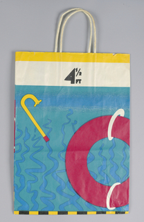 "Continuous design of wall of swimming pool with depth of water marked from ""4 1/2 FT"" to ""15 FT"".  Blue background as water with  yellow snorkel, red inner tube, other swin accessories.  Yellow border on upper edge of bag."