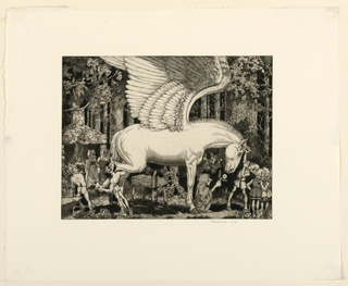 A forest scene with a group of figures standing around a large white horse with wings. A figure, at left, lifts the horse's hind leg to secure a horseshoe.