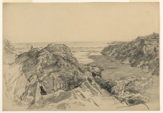Sketch of cliffs leading to the sea in the background.