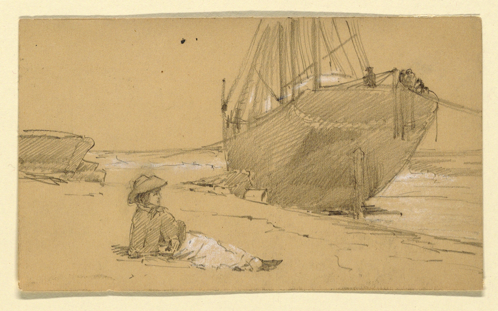 Horizontal rectangle. A woman is shown in profile sitting, facing right. In the right central plane is a sailboat shown obliquely from the stern.
