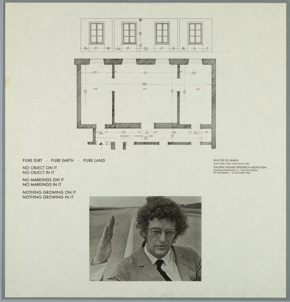 Artist's exhibition poster: top half of image shows a building elevation (with four windows) and plan (of three rooms and hallway); bottom half of image shows photographic portrait of artist with road in background.  Text at left of center; artist's name and gallery name at right of center.