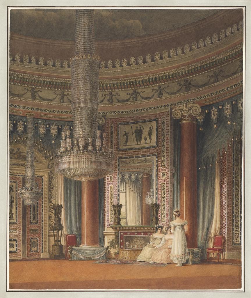 Drawing, The Circular Dining Room at Carlton House, London