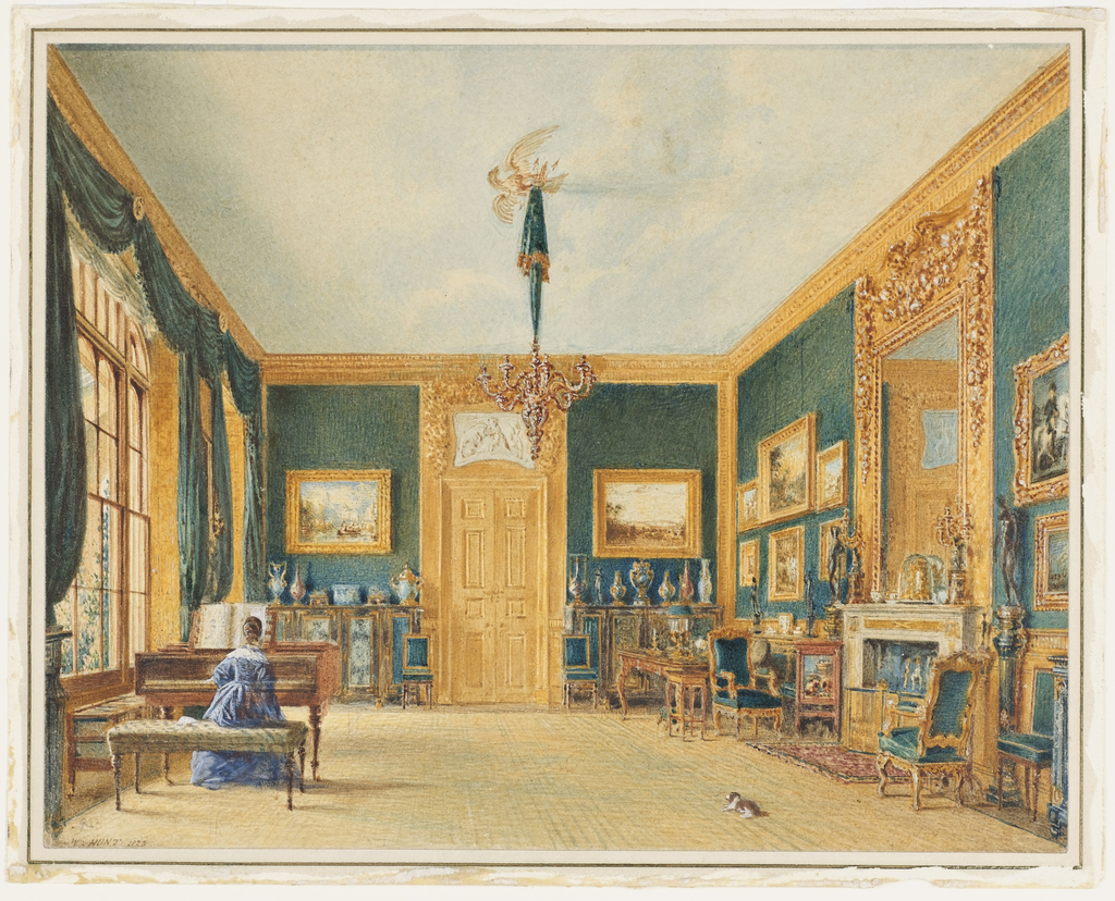 Drawing, The Green Drawing Room of the Earl of Essex at Cassiobury