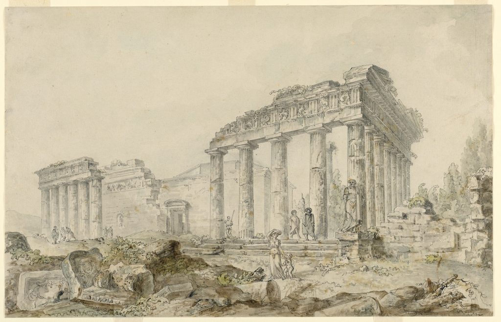 Horizontal rectangle. View of Temple of Minerva, partly in ruins, sculpture at right. Several groups of figures, one woman with child in foreground, soldiers with spears in background.