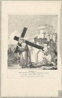 Print, Via Crucis - Station V, Simon of Cyrene Helps Him to Carry the Cross, ca. 1749