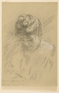 Sketch of a young female figure looking down. Hair braided and coiled on top of head. Indication of dotted material in shirtwaist.