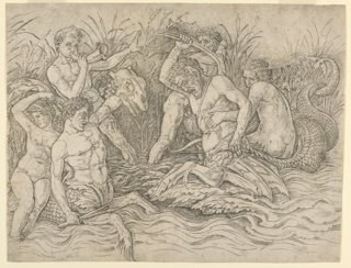 In marshy shallows, three male sea gods battle each other and two water satyrs. The water satyr on the left, armed with a club and a monster's head, is carrying a sea nymph on his back, who looks away from the battle in fear. The sea satyr on the right is armed with a hatchet and struggles to resist the grip of a sea god behind him. Meanwhile, another sea god blows a horn to rouse the spirits of the fighters, while the third is whacking left-and-right at the sea-satyrs with two fish. In the rushes in the background, serpents and sea creatures lurk.