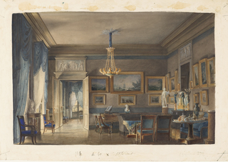 Detailed elements of the Empire period are executed by the artist. Buff walls banded in blue serve as the color scheme of the salon and the adjoining room.Heavily swagged curtains with fringed pelmets, blue upholstery, and a blue and gold tablecloth accent bare, highly polished floors. An overdoor panel carved with figures appears to have a bluish ground. A picture collection in heavily gilded frames lines the walls. A marble statue of Apollo Belvedere on a pedestal and a bronze clock flanked by candelbra in the form of a winged victory on the chimneypiece are similar to decorative elements used by Percier and Fontaine at Malmaison and Fontainbleau. A tea table set with porcelains and metalwork of the period is on the right.