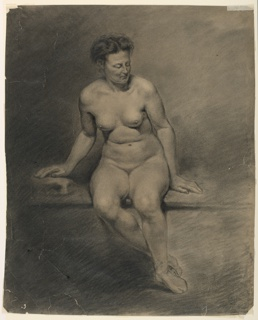 Nude woman shown from the front with a lowered head, seated upon a bed.