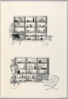 Wooden bookshelves, sofa and Barcelona chair