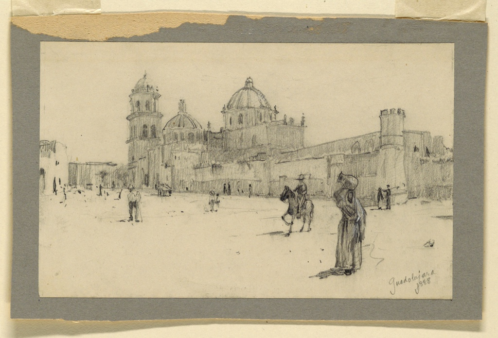 Oblique view of a group of structures, a church included. A square with people is in the foreground. Caption in the lower corner: Guadalajara / 1888.