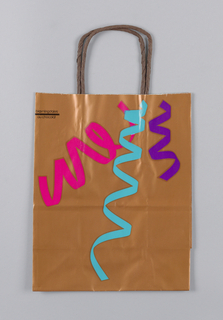 Copper-colored bag with fuchsia, turquoise and purple drawing of ribbons.   Store name in black, upper right.