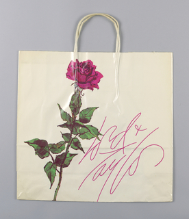 Trademarked red rose and store name in script on white background.