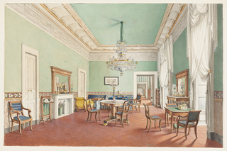 In this plainly decorated salon, a marble (or marbleized) dado is topped by a floral border which runs around the painted pale green walls. The frieze around the ceiling, done either in plaster or trompe l'oeil, echoes the swags of the simple white curtains. A crystal chandelier in Neo-Classic style hangs over a marble-topped round table. An enfilade of rooms is seen through the open door of the salon just off-center on the right. On the walls are engravings after contemporary paintings, including Death of a Christian Martyr by Paul Delaroche.