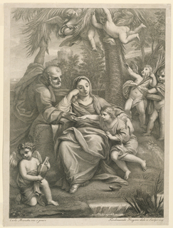Print, Holy Family with Attending Cherubs