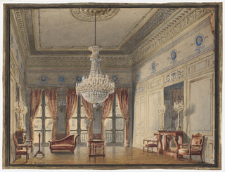 This view of the Montpensier Wing of the Palais Royal in Paris shows an elegant room with three French doors leading to a courtyard. Sienna-colored tieback curtains coordinate with the tones of the upholstered Empire style furniture. Console tables on either side of the room are placed in front of tall mirrors which reflect gilt-bronze candelabra. Blue painted medallions in the Empire style decorate the upper border of the salon.
