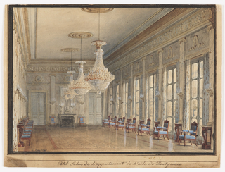 This view of the long Salon shows a highly polished parquet floor, a symmetrical formal arrangement of neoclassical furniture, and a parade of crystal chandeliers and wall lights. The chimneypiece appears to be decorated with ormolu motifs of the period.