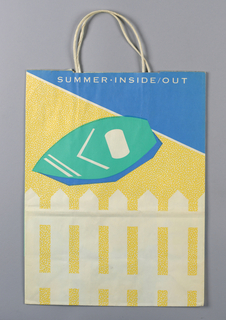 """Summer Inside Out""; image of pottery in white. White picket fence and white lawn chair on teal and blue background. Side panels: Conran's."