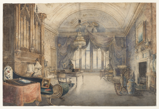 The salon is dominated by a Gothic style organ on the left at which a woman is seated; she is dressed in a white costume dated to the 1830s. A crystal and ormolu counterweighted chandelier is suspended from the Neo-Classical style vaulted ceiling. The windows in the rear are dressed in the Regency style, with deep fringe-edged swags, caught by a large eagle at top center. The Grecian style sofa in the foreground; desk in the Louis XVI style, with books and Chinese porcelains; chimney surround of the Adamesque period (1770s); and large porcelain vases and jars reflect a room of decoration spanning sixty years.