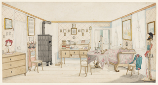 This interior view, clearly dificient in perspective, may have been painted by a Prussian cavalry officer. The trappings of an army officer - green and red military jacket hung over a chair back, plumed helmet, sword belt, three swords - indicate an officer's quarters. Pale wood furniture in the practical Biedermeier style, trellis-patterned wallpaper and simple white curtains create a quiet environment for sleep and study. Further details include a book-lined desk, a zither placed on the skirted table in front of the sofa and fencing gear hung on the fire screen next to the large black iron stove.