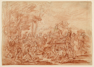 Allegorical composition of many figures and winged putti in a landscape. Ruled frame in red chalk.