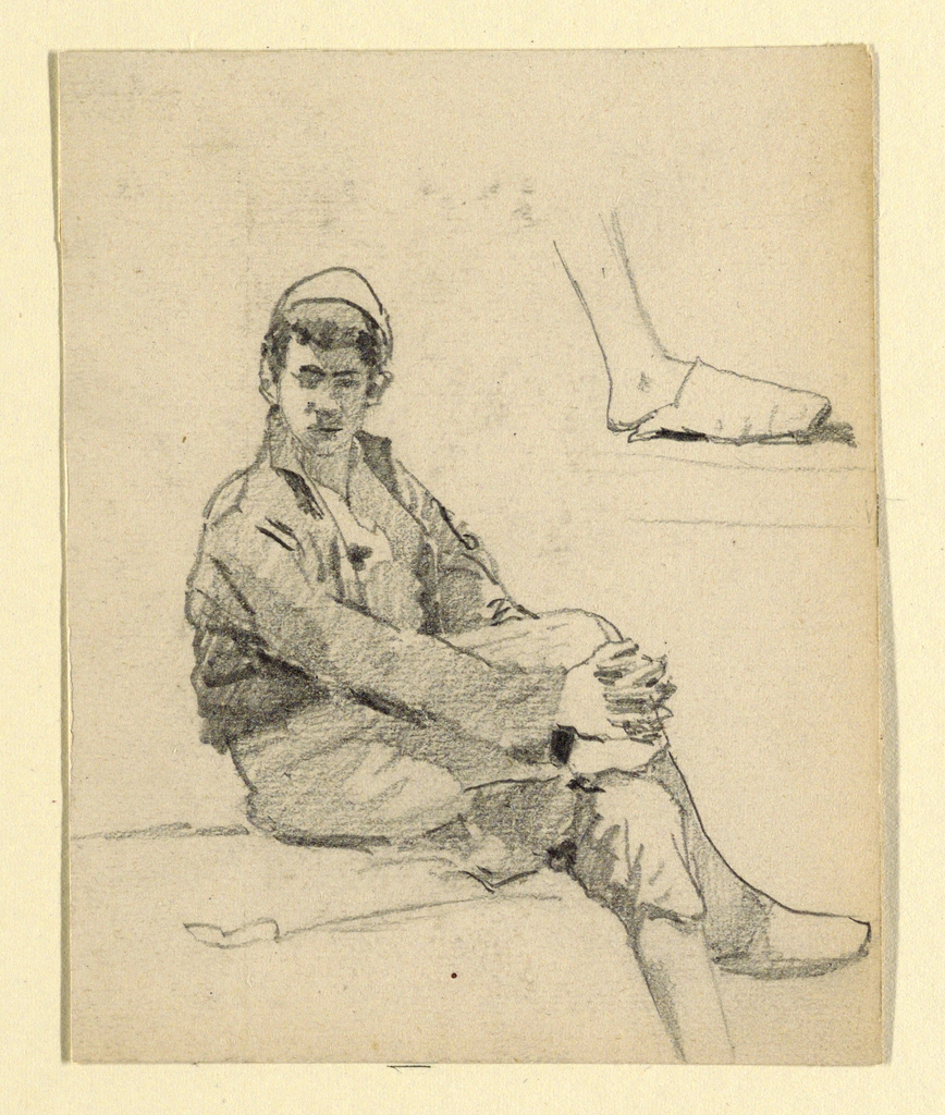 Vertical rectangle. Obverse: The body is turned right, the head toward the spectator. The hands are crossed under the right knee. The lower part of the right leg with the foot wearing a slipper is drawn separately above, at right. Reverse: Interior study, with desk and chair in foreground.
