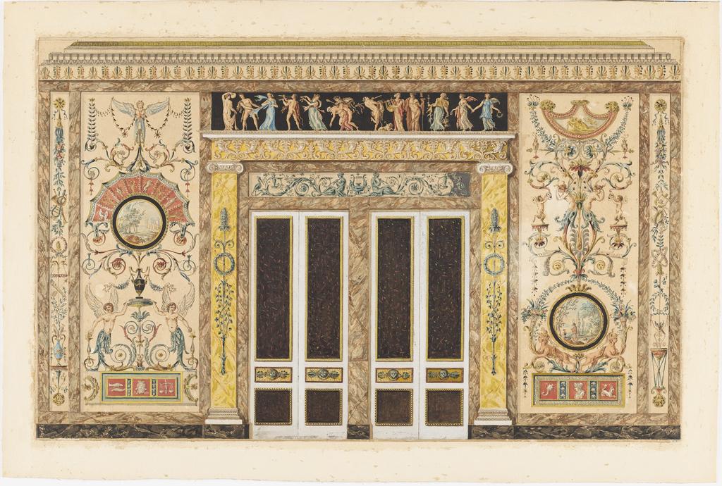 Drawing, Projet pour un salon de musique (Design for a Wall Elevation in a Music Room)