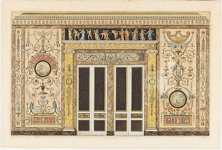 This wall elevation is typical of antique revival decoration so popular during the Neo-Classical period in France. The wall is symmetrically divided, with two double panelled doors at the center. A frieze evoking a musical theme runs across the top of the doors. A second frieze, above the lintel, shows dancing figures holding various instruments. Pilasters and large panels are decorated with grotesque elements, with urns, putti, flowers, animals and herms comprising a fanciful composition. Narrow panels decorated with musical trophies complete the elevation for a music salon, effecting an archeological reconstruction of the Etruscan period.