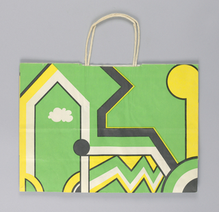 """""""Giorgio di Saint Angelo"""" in lime green with yellow, white, and black geometric shapes. On base: """"Giorgio di Sant'Angelo for Bloomingdle's""""."""