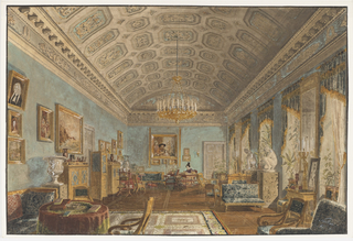 This view depicts a room with a coffered, barrel-vaulted ceiling and furniture in the Russian taste (1820-1830). On display are a large collection of paintings, two marble sculptures of the Crouching Venus flanking the window, and potted plants, urns and vases. The Czarina is seated at her writing table at the far end of the room.