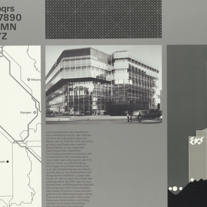 In black ink: Energie-/ Versorgung/Schwaben AG; alphabet in lower case, numbers 1 through 0, alphabet in upper case in both regular and bold typeface; text in German along with graphic illustrations and black and white photos of buildings; letterhead, logos, maps, buildings, plans, electric towers, trucks.