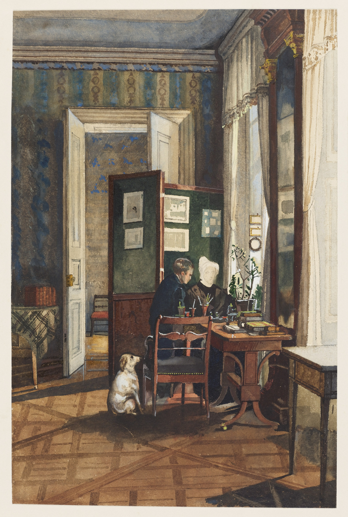 A young man and older woman, presumed to be the present artist and his mother, are seated at a table laden with books, paintbrushes and a potted plant. A folding screen hung with unframed drawings is behind them, while their faithful dog observes them from the left. The walls are hung with blue and ochre striped wallpaper; windows, curtained in white muslin trimmed with fringe, are on either side of a pier mirror; and the floor is of parquet in a diagonal design. The decoration and furniture are English, popular in Germany in the mid-nineteenth century.