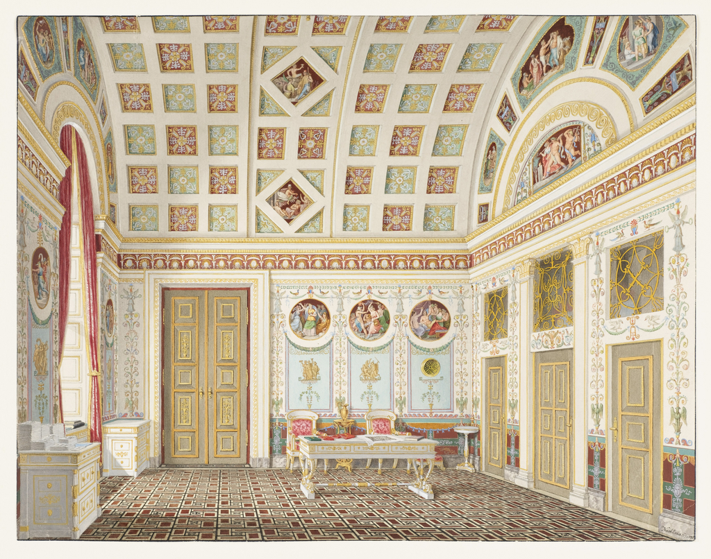 Drawing, The Dressing Room of King Ludwig I at the Munich Residence Palace