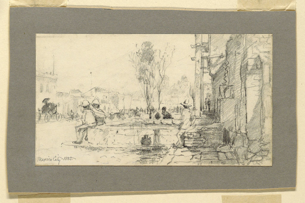 Horizontal rectangle. The crowded street leads back to the facade of a church. A fountain is in the right foreground, men sit upon its enclosure. Caption is in the lower left corner: Mexico City, 1885.