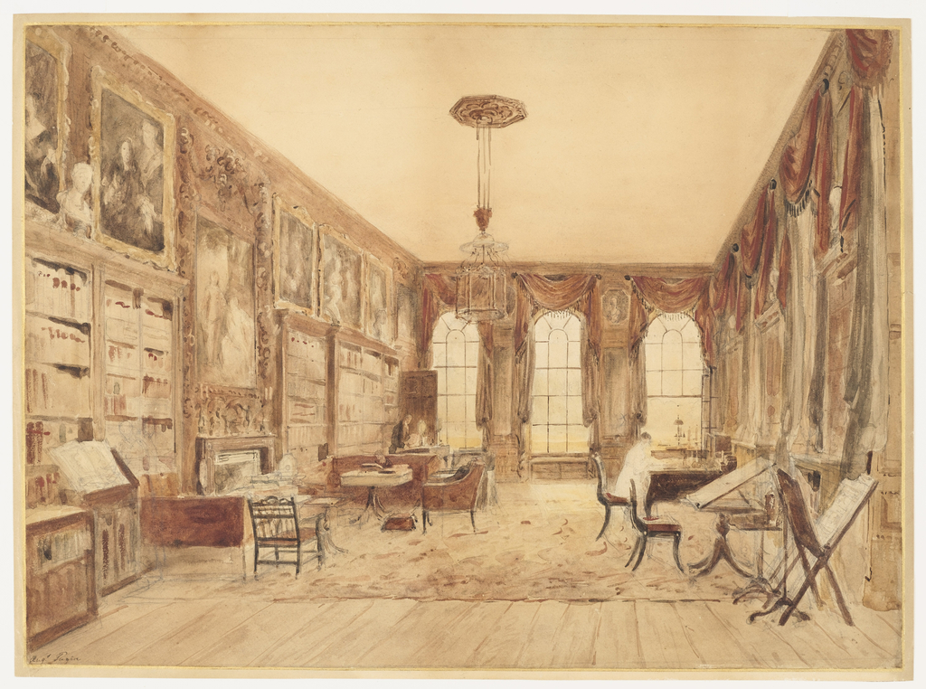 This is a sketch of the late seventeenth century library at Cassiobury Park after it had been redecorated by James Wyatt around 1800. The huge room measured fifty-four by twenty-three feet. The walls are hung with family portraits, as well as works by Joshua Reynolds, Rubens, Van Dyck, Cornelius Janssens, Peter Lely and Godfrey Kneller. The carved frame of the Reynolds is by Grinling Gibbons. Three arched windows, separated by pier mirrors, are hung with elaborate swagged and fringed curtains; a central lantern lights the room; and library tables and chairs show figures at study. (In a later view of the library, a geometrically patterned rug is in place.)