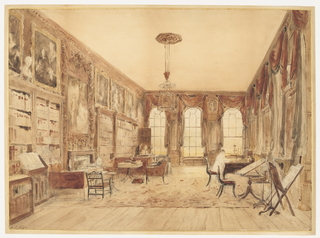 Drawing, The Interior of the Library at Cassiobury