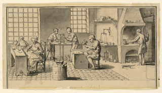 Drawing, A gold beater's workshop for Diderot's Encyclopedie