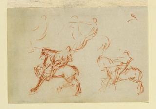 Three rough sketches of an equestrian monument, seen in left profile. The horse's right front leg is raised. The rider's right arm is extended before him in a gesture of command.
