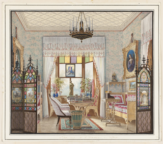 Interior view of a small room decorated in the neo-gothic style. At left a folding screen ornamented with quatrefoils and colored panels partially obscures a portrait of a woman in a heavy gilt frame. At right a similar screen is positioned near a small day bed above which a circular portrait in a gothic-style frame hangs. A desk, chair and ornamental wastebasket occupy the center of the room, just in front of a large window ornamented with stained glass panels of green and yellow and a small replica of a painting of the Assumption of the Virgin.