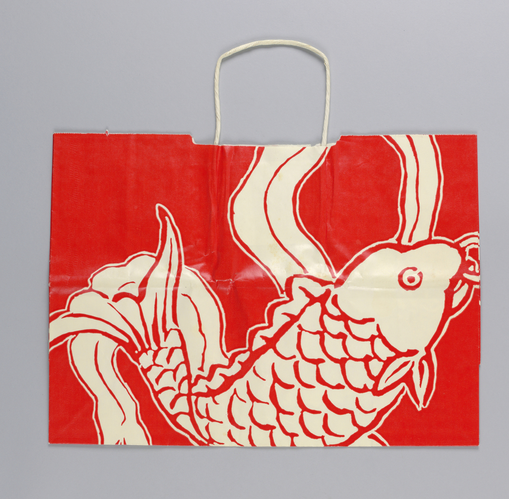 Japanese (or Chinese) goldfish/carp in white on red background; store name imprinted  in one side panel.