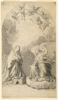 """Saint Mary kneeling at the left, the angel kneeling on a cloud at the right, with the lily. Above, five putti with joined hands, circling above the dove in the rays of light. Below, the artist's names. Top right corner: """"22""""."""