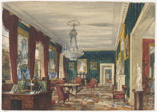This is a typical salon of mid-nineteenth century France, possibly in Paris. The walls are hung with dark green striped paper and the floor covered with a carpet of Rococo Revival floral design.  Red draperies are hung from gilt-bronze poles. The cabinet-on-stand, chairs, and candelabra are decorated with gilt-bronze elements in the Empire style.  Large porcelain vases, probably Chinese, flank the candelabra. A large crystal chandelier hangs over a cloth-covered table.  A kneehole desk with a green leather [?] top is most probably English.  Ancestor portraits and an antique statue placed on a pedestal table complete the salon of a royal or aristocratic owner.